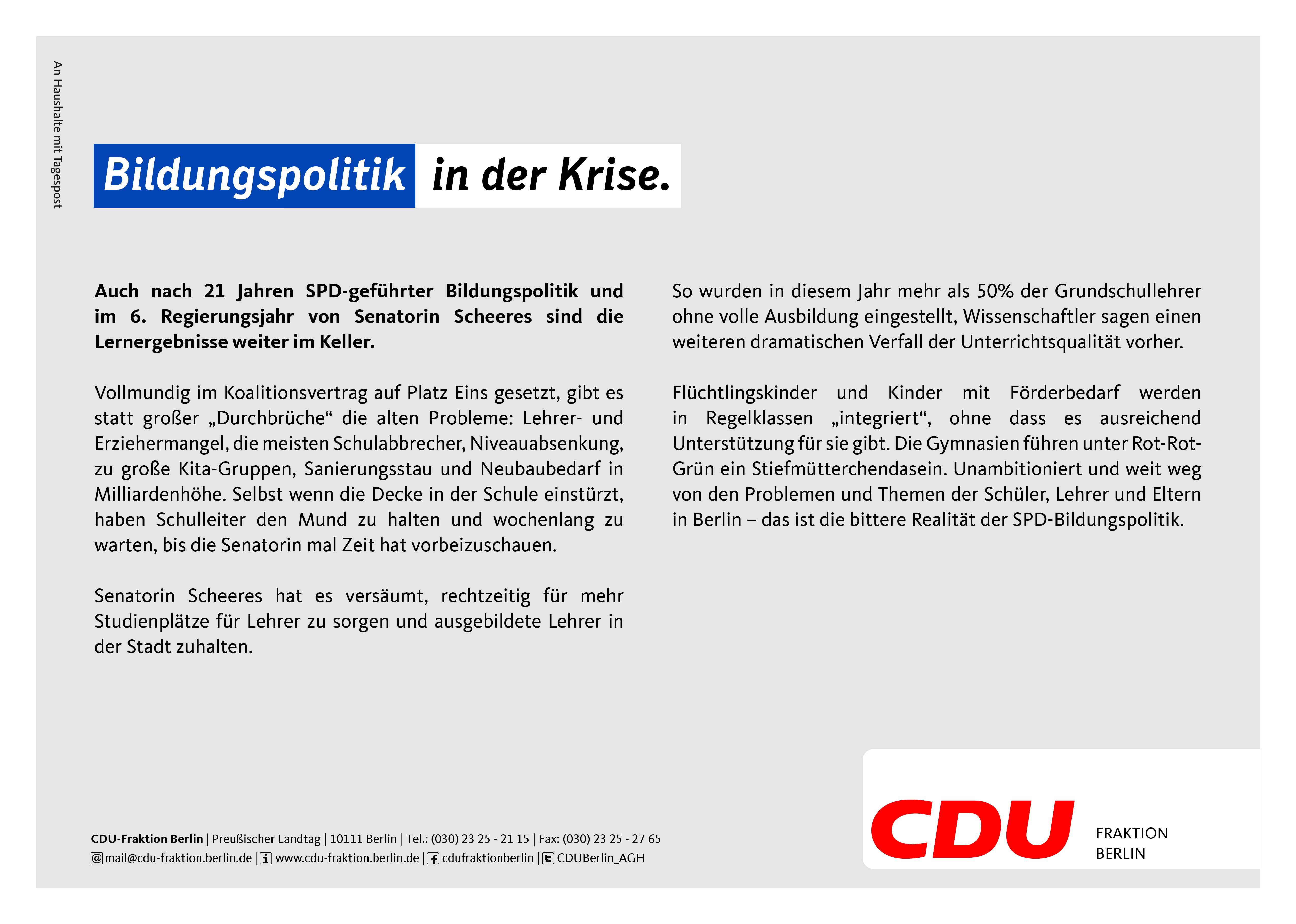 CDU-Fraktion Berlin - Nichts zu feiern mit dieser Regierung.